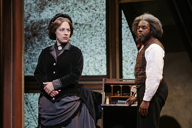 """Emily Gunyou Halaas and Mikell Sapp in a scene from """"The Agitators."""""""
