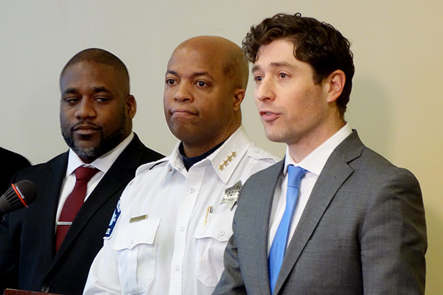 Council for Minnesotans of African Heritage executive director Justin Terrell, Minneapolis Police Chief Medaria Arradondo and Mayor Jacob Frey