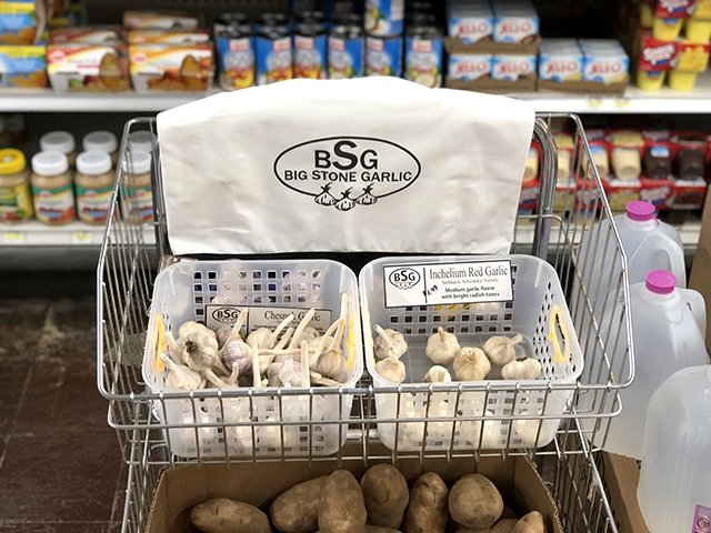 A display of Big Stone Garlic