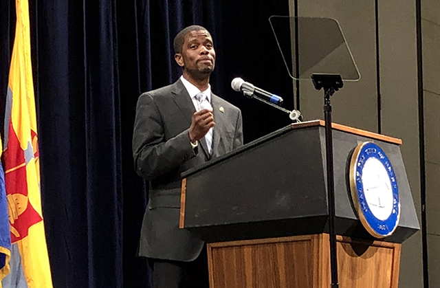 St. Paul Mayor Melvin Carter shown during his budget address in August.