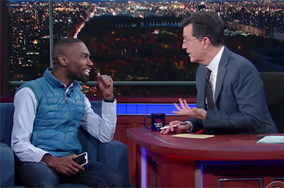DeRay Mckesson and Stephen Colbert