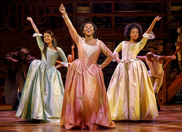 Shoba Narayan, Ta'Rea Campbell and Nyla Sostre as the Schuyler Sisters.