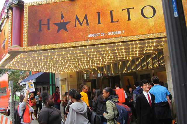 "Students from 13 area high schools took in a special Wednesday matinee of the Tony Award-winning Broadway musical ""Hamilton."""