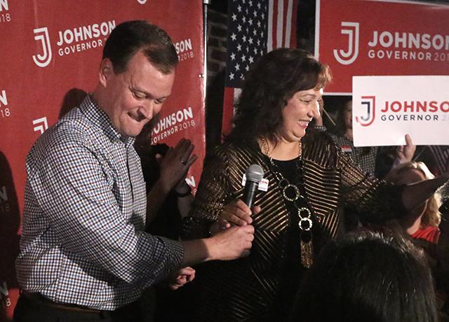 Republican gubernatorial candidate Jeff Johnson and running mate Donna Bergstrom
