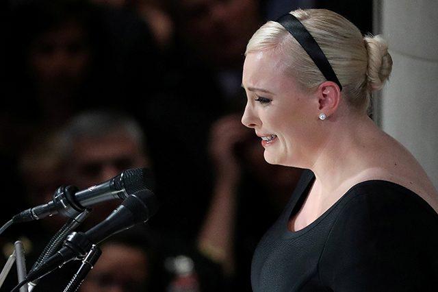 Meghan McCain speaking at the memorial service