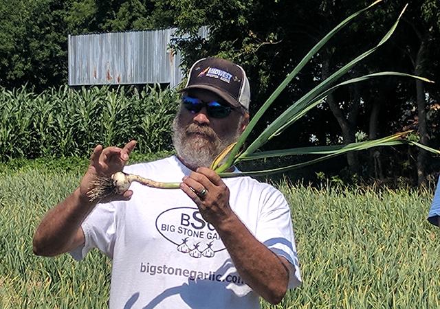Russ Swenson, of Big Stone Garlic, displays a garlic bulb.