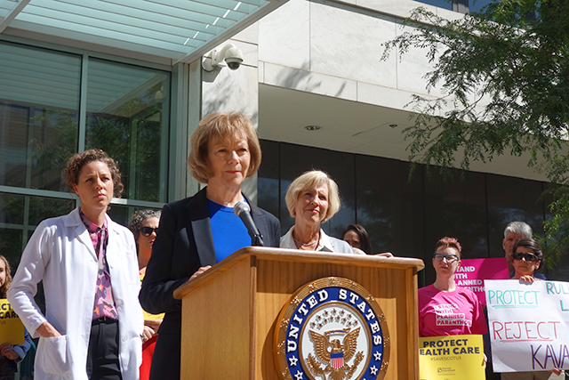 Sen. Tina Smith speaking during Friday's press conference
