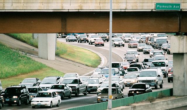 Traffic under the Plymouth Avenue bridge.