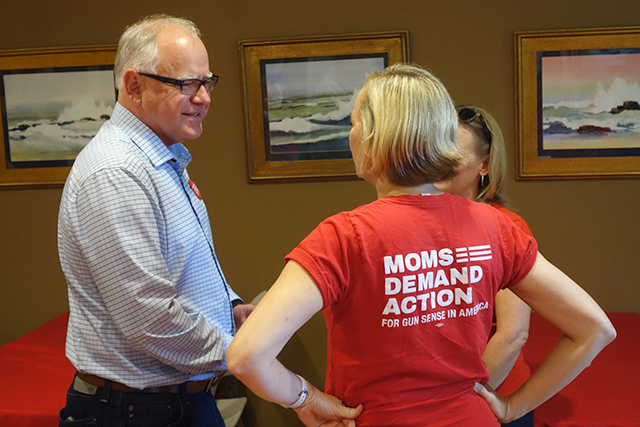 Rep. Tim Walz speaking to attendees of a Wednesday meeting on gun safety laws.