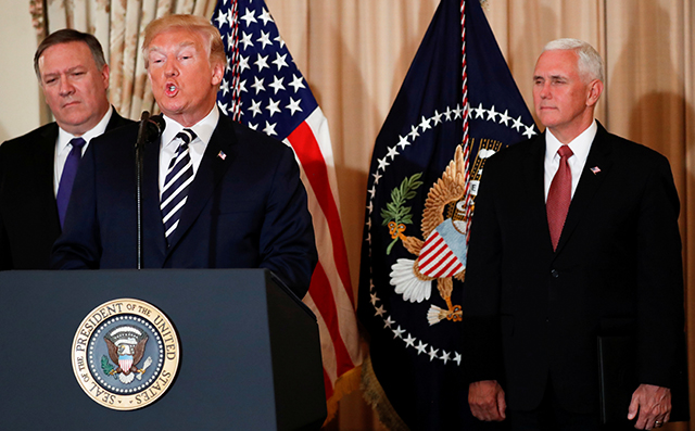 photo of pompeo, trump and pence
