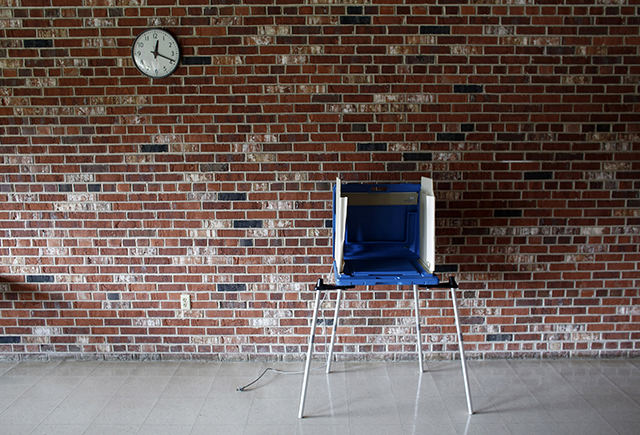 photo of a single voting booth