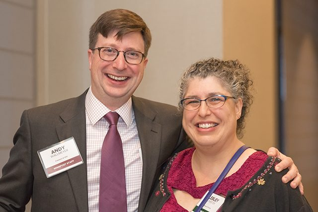 MinnPost publisher and CEO Andy Wallmeyer and event sponsor Lesley Rochester
