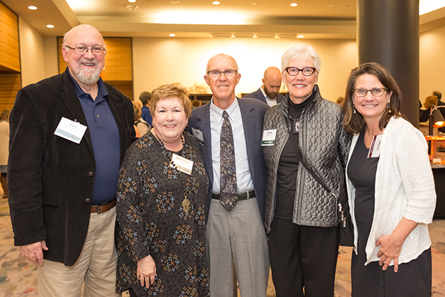 Dan and Barbara Westmoreland, event sponsors Tom and Lynn Rusch, and MinnPost director of advertising Sally Waterman