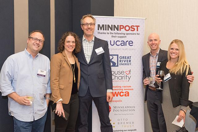 Matt Kramer, event sponsors MinnPost board member Becky Klevan and Lars Klevan, Brian and Leslie Martin
