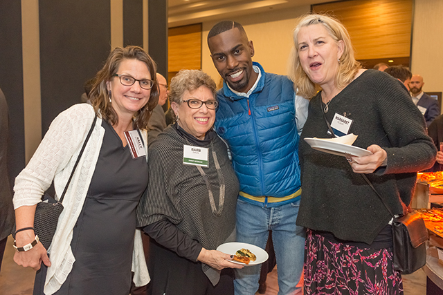 MinnPost director of advertising Sally Waterman, event sponsor Fran Davis, DeRay Mckesson and Margaret Kelaart