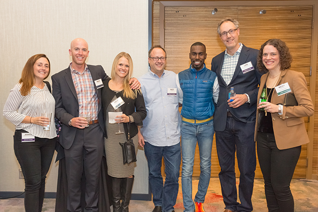 Jessica Cordova Kramer, Brian and Leslie Martin, Matthew Kramer, DeRay Mckesson, and event sponsors Lars Klevan and MinnPost board member Becky Klevan
