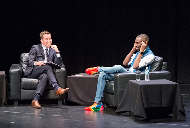 MinnPost editor Andy Putz and DeRay Mckesson share a laugh during the program.
