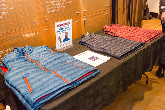Patagonia vests for the silent auction provided by Patagonia St. Paul.