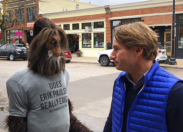 Walking down Water Street in downtown Excelsior a few blocks from his campaign headquarters, Dean Phillips was tailed by an entourage that included Bigfoot.
