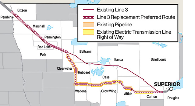 A rough depiction of the Line 3 replacement route in North Dakota, Minnesota and Wisconsin.