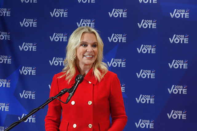GOP senatorial candidate Karin Housley took questions from reporters in the press room.