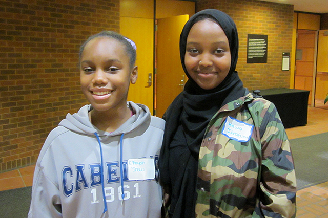 Justice Page Middle School students E'Rayah Shaw and Hawa Ibrahim