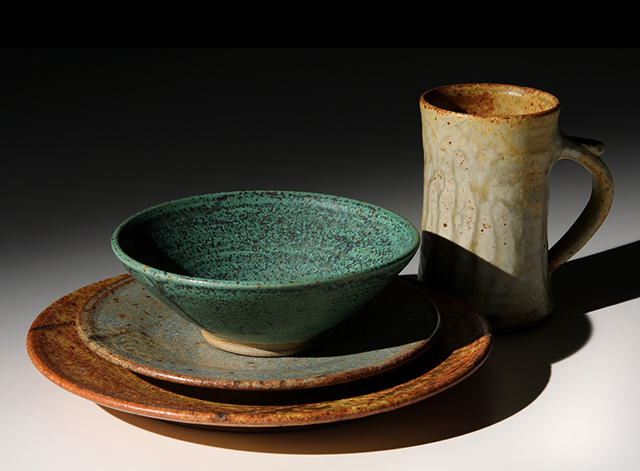 A place setting by potter Jo Severson.