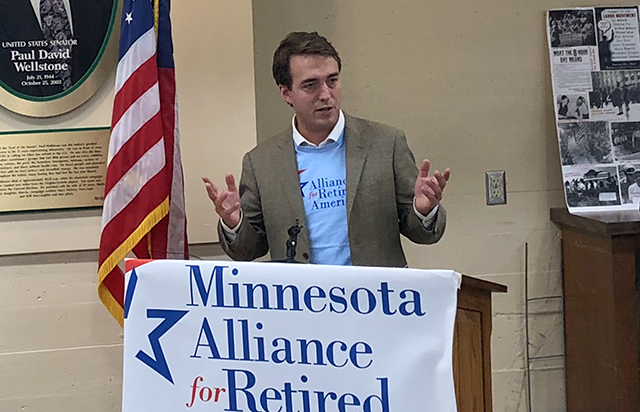 Joe Radinovich was in Duluth to receive the endorsement of the Alliance for Retired Americans, the AFL-CIO labor union's advocacy group for seniors.