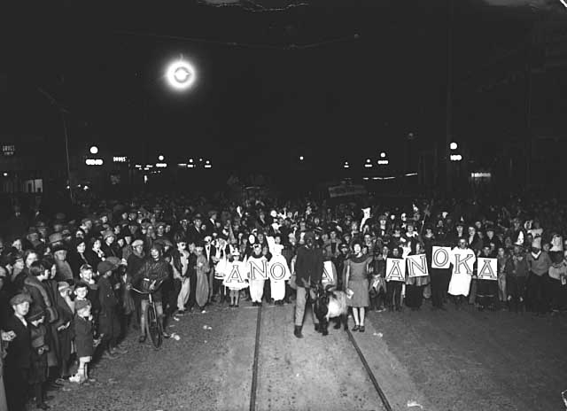historical photo of halloween parade