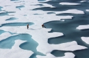 aerial photo of sea ice and open water in the arctic