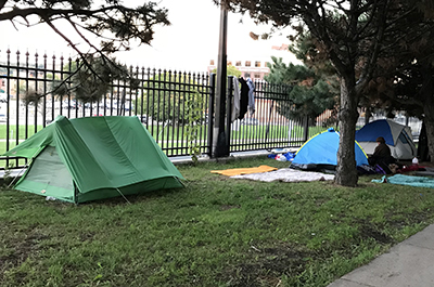 photo of tents along roadway
