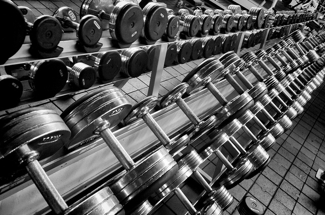 photo of free weights in gym