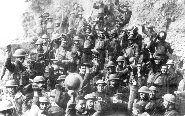 photo of troops celebrating