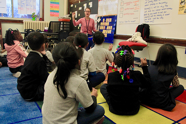 Erin Engelhardt's first-grade classroom at Prodeo Academy's St. Paul campus, teaching phonics.