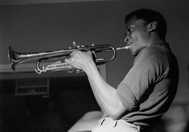 Miles Davis performing in the Blue Note studios.