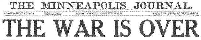 The Minneapolis Journal headline on Nov. 11.
