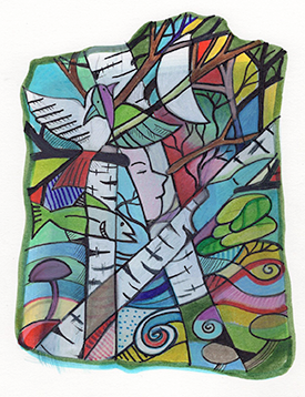 """Northwoods Abstract, mixed media, 5""""x7"""", by Nancy Carlson."""