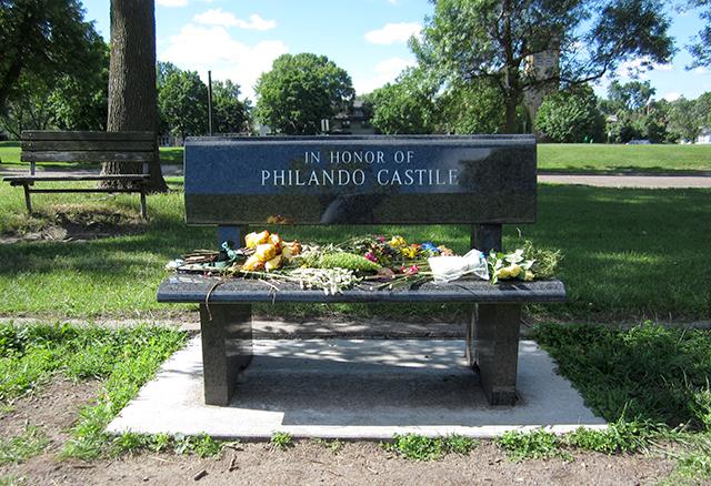 Bench dedicated to Philando Castile at JJ Hill Montessori Magnet school in Rondo.