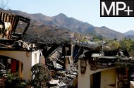 A home destroyed by the Woolsey Fire