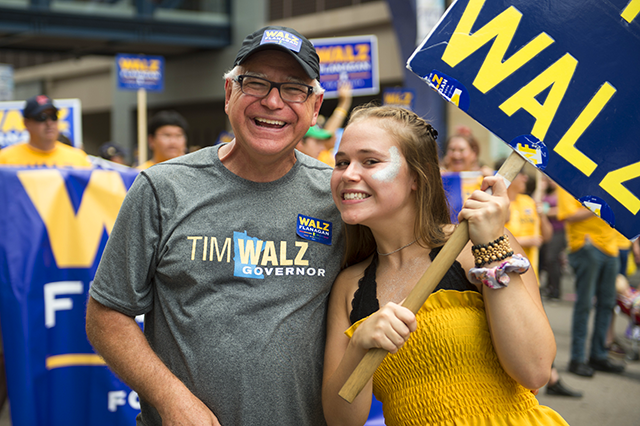 Tim Walz, shown with his daughter, Hope