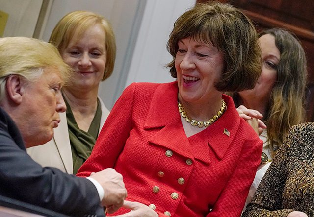 President Donald Trump greeting Sen. Susan Collins