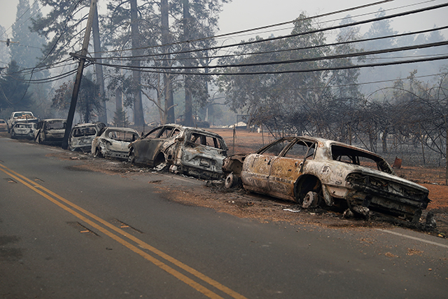 photo of burned cars along the side of the road