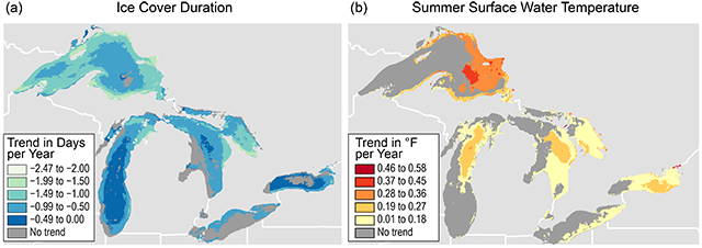 map of warming and ice loss on great lakes