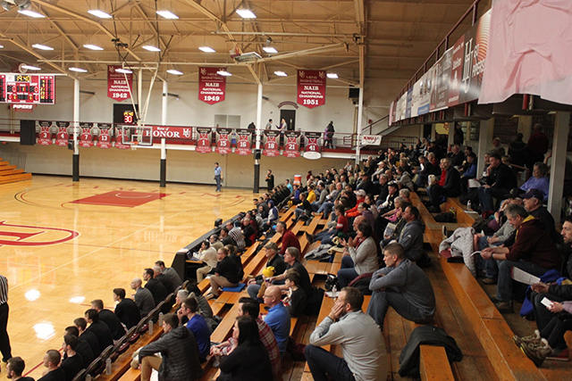 photo of bleachers at basketball game