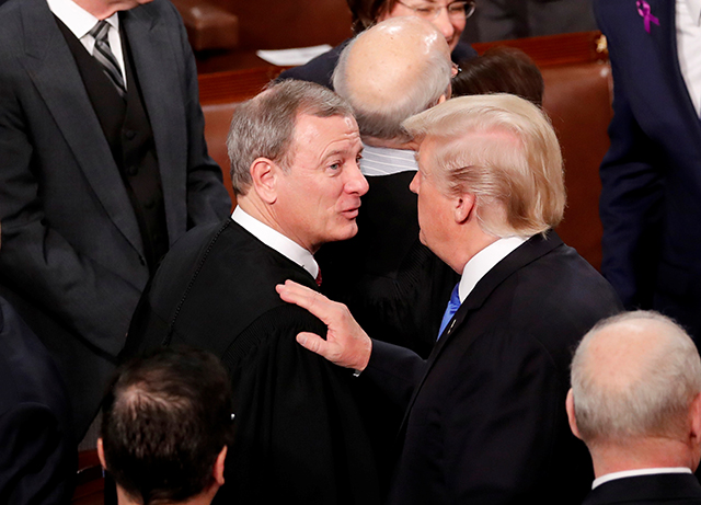 photo of supreme court chief justice john roberts and president donald trump