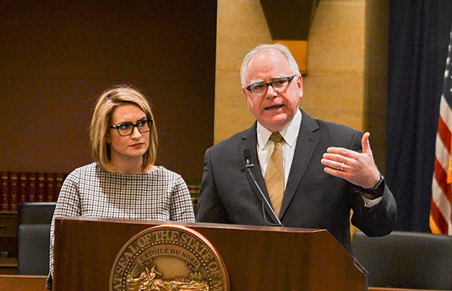 Gov.-elect Tim Walz, right, with Lt. Gov.-elect Peggy Flanagan