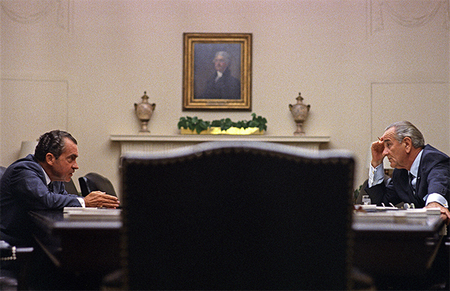 President Lyndon Johnson, right, meeting with candidate Richard Nixon at the White House, July 26, 1968.