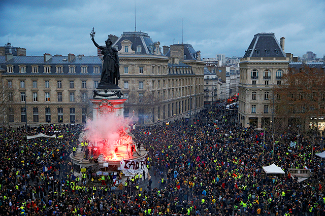 """A view of the Place de la Republique as protesters wearing yellow vests gathered during a national day of protest by the """"yellow vests"""" movement in Paris on Saturday."""