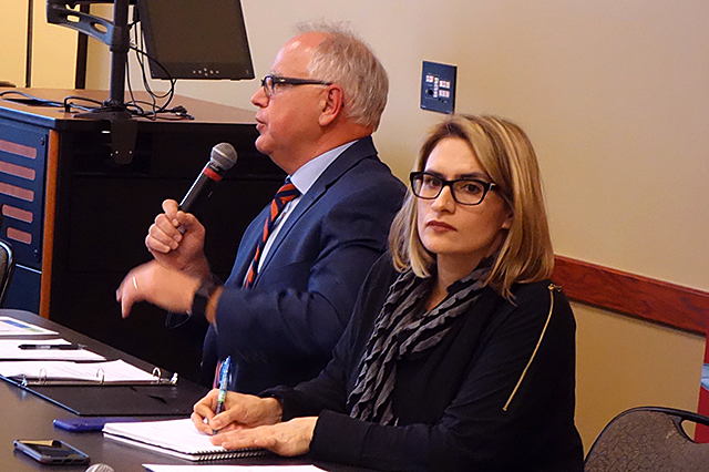 Gov.-elect Tim Walz and running mate, state Rep. Peggy Flanagan, addressing a packed room in North Minneapolis last week.