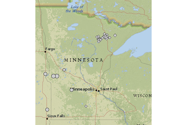 map of locations of earthquakes in minnesota